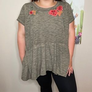 Lane Bryant Green Floral Embroidered Blouse